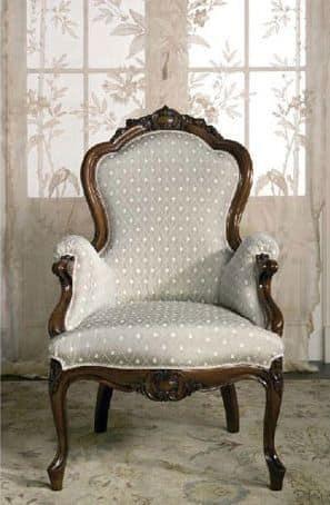 Art. CA61 Carlotta, Sessel aus Holz, für die klassische Familie Lounges