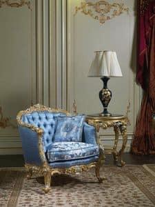 Art. SE-301 Achtzehnten Jahrhundert Sessel, Klassischer Sessel, gepolstert in Seide, mit Schnitzereien