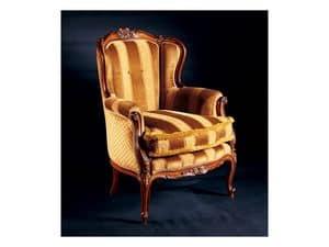 Barocco Sessel 779, Gepolsterte Sessel aus eingelegtem Holz, antiken Stil