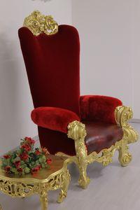 Ambassador Thron, Luxuriöser Thron, aus geschnitztem Buchenholz