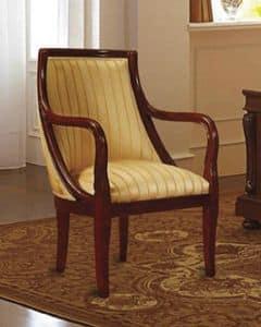 Canova Sessel, Sessel in Nussbaum, gepolstert, für den klassischen Hotels