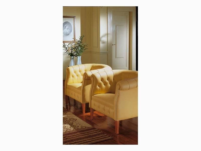 Carol, Dekoriert Sessel in Leder, für Luxushotels