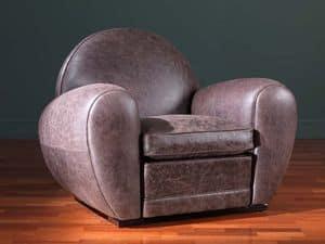 Edward, Sessel bedeckt in Leder, mit weichen Auflagen
