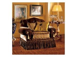 Elena armchair, Luxus klassischer Sessel mit capitonné Polsterung