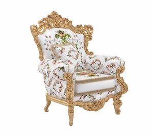 Luxor Sessel, Sessel mit prächtigen dekorativen Schnitzereien