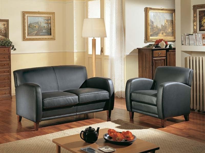 Maxima, Sessel aus Holz, in Leder bezogen, für Lounge und Rezeption