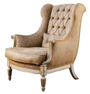 Michelangelo RA.0998, Walnut Sessel, Armlehnen, Locke Inlay Beine, capitonné zurück, für Umgebungen in klassischen Luxus-Stil