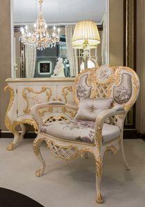 Pantheon Sessel, Klassischer Sessel aus Seidenstoff