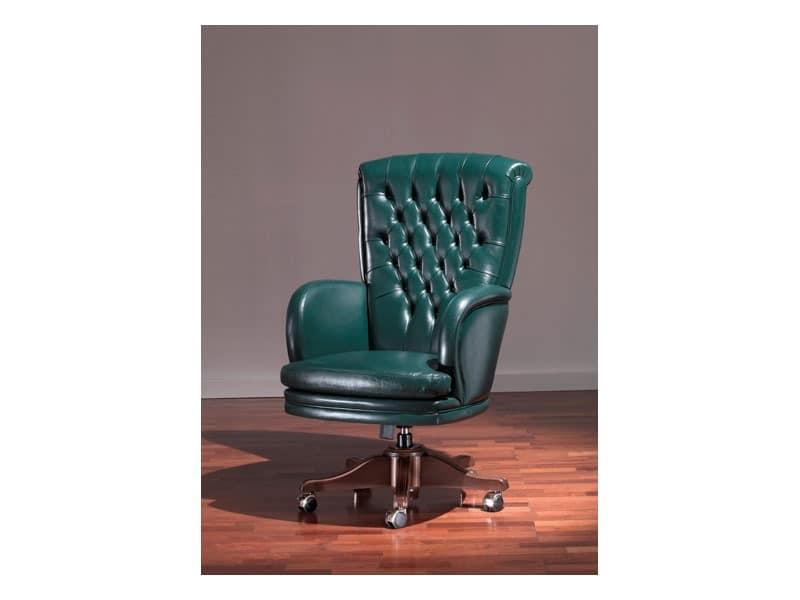 Praga Capitonnè, Antik-Stil Stuhl, grünem Leder, für repräsentative Büro