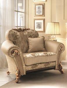 Sinfonia poltrona, Weichen Stuhl mit goldenen Verzierungen, reich und elegnate