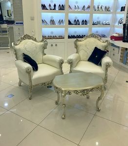 Stradivari Stoff, Weiß lackiert Sessel, Leder, neue Barockstil