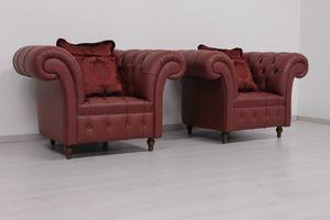 Swing Leder, Sessel im englischen Chesterfield Stil