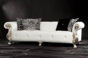 Oceano Leder 3-Sitzer, Sofa mit Armlehnen mit Veredelungen in Blattgold, Barock