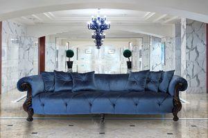 Oceano Stoff 4-Sitzer, 4-Sitzer-Sofa mit Goldveredelung, Luxus im klassischen Stil