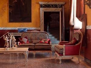 Ambra Sofa, Klassische Tufting-Sofa, mit Schnitzereien, lackiert