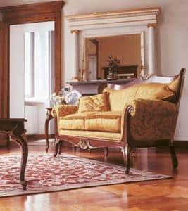 Art. 1054, Gepolstertes Sofa mit Schnitzereien, für Salons in Luxus-Stil