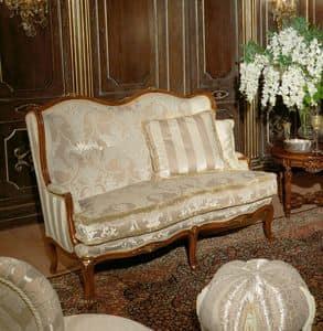 Art. 1075, Luxus-Sofa, bedeckt in Samt und Seide, handgefertigt