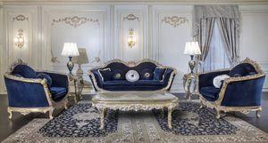Art. EM/203 Empire, Geschnitztes barockes Sofa mit silbernen Details