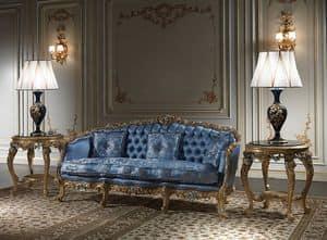 Art. SE-303 Achtzehnten Jahrhundert Sofa, Sofa geschnitzt und vergoldet von Hand, mit Seide bedeckt
