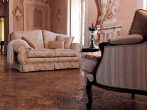 Beatrice, Gepolsterte klassisches Sofa, maßgeschneiderte verfügbar