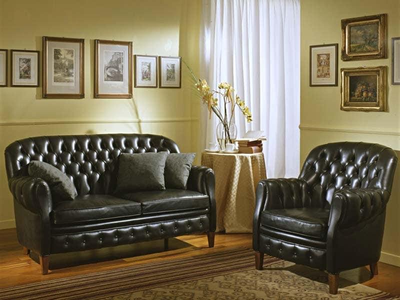 Bulbas Divano Capitonnè, Luxus klassisches Sofa, capitonné, für Hotelhallen und Wohnzimmer