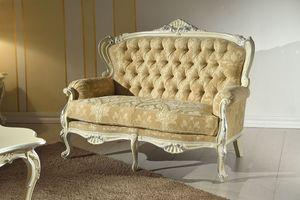 Chippendale 2-Sitzer-Sofa lackiert, Sofa mit Capitonné-Rückenlehne