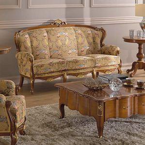 Chippendale 3-Sitzer-Sofa, Sofa im klassischen Stil mit dekorativen Schnitzereien