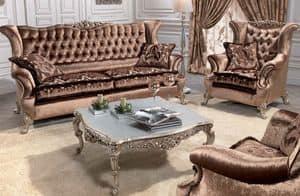 Corona, Luxus klassisches Sofa für Wohnzimmer, mit 2 Sitzen