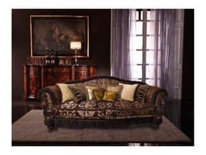 Cristina, Luxus-Sofa bedeckt in Seide, handgefertigt