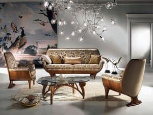 DI01 Confort Sofa, Holz Sofa, gepolstert, komfortabel, klassischen Luxus