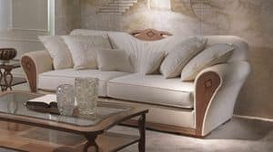DI36 Charme Sofa, Overstuffed Sofa aus Holz für Luxus-Wohnzimmer