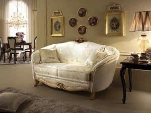 Donatello Sofa, Sofa im neoklassizistischen Stil, Dekorationen in handgeschnitzte Holz für Wohnzimmer