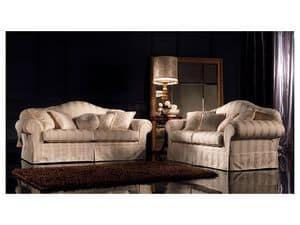 Elena, Traditionelle gepolstertes Sofa, mit verschiedenen Stoffen gepolstert