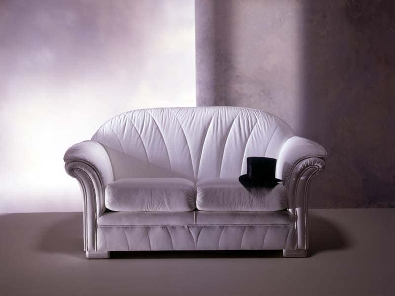 Forma Sofa, Klassische Sofa in weißem Leder, für Luxus-Wohnzimmer