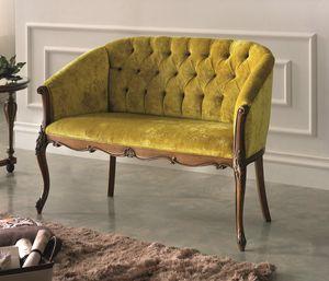 Geschnitztes Sofa, Klassisches Sofa, geknöpft