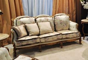 Liberty 3-Sitzer-Sofa, Klassisches Sofa handgeschnitzt, in Nussbaum mit Gold