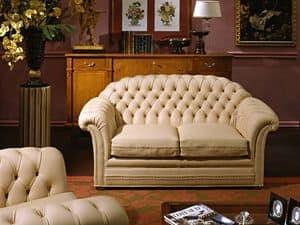 Lloyd Sofa, Sofa Luxus klassisch, gesteppte Polster, Leder