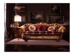 Marika, Sofa bezogen mit Stoff, handgefertigt, klassischer Stil
