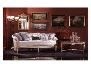 Nadia, Französisch-Stil Sofa, gepolstert in Seide, klassischen Stil