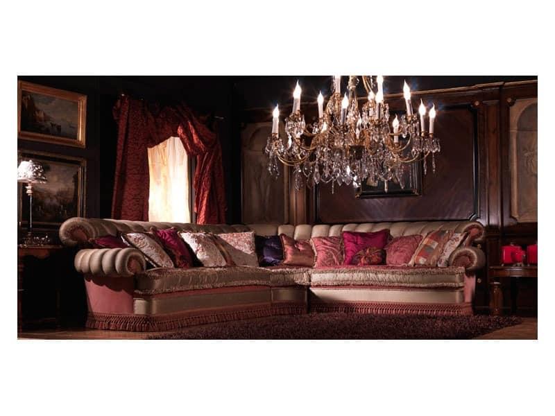 Nathalia Eckige, Ecksofa, bedeckt in Seide, Luxus im klassischen Stil