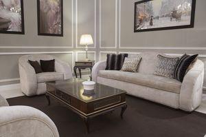 New York divano, Abgerundetes Sofa, mit Stoff bezogen