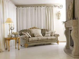 Ninfea, Classic 3-Sitzer-Sofa, Carving mit Blattgold-Finish