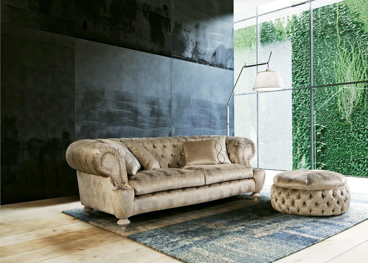 Omero, Klassisches Sofa mit stilvollen gesteppte Polsterung