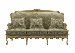 Principessa Sofa, Geschnitztes Sofa, Blattgold