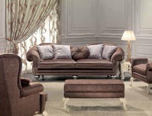 Protagonista, 3-Sitzer-Sofa für das Wohnzimmer, klassisch, elegant Details