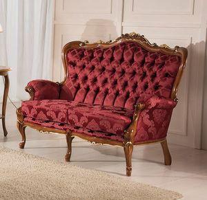 Rex 2-Sitzer-Sofa, Klassisches geschnitztes Sofa