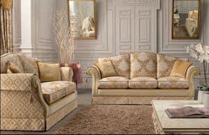 Royal, 2-Sitzer-Sofa für Wohnzimmer, klassisch, mit Stahlfedern