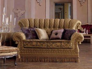 Sara, 2-Sitzer-Sofa im klassischen Stil, gesteppt, für Wohnzimmer