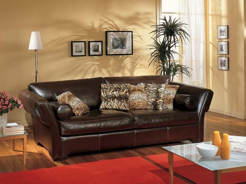 Shine Sofa, Sofa mit braunem Leder bezogen, für Wohnzimmer