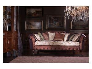 Silvia, Luxus-Sofa bedeckt in Seide, Federfüllung